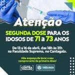 Prefeitura aplica a segunda dose em idosos de 71 a 73 anos; campanha Vacinação Solidária continua
