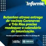 Butantan adia entrega da Coronavac e Três Rios precisa readequar calendário de imunização