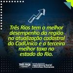Três Rios tem o melhor desempenho da região na atualização cadastral do CadÚnico e a terceira melhor taxa no estado do Rio